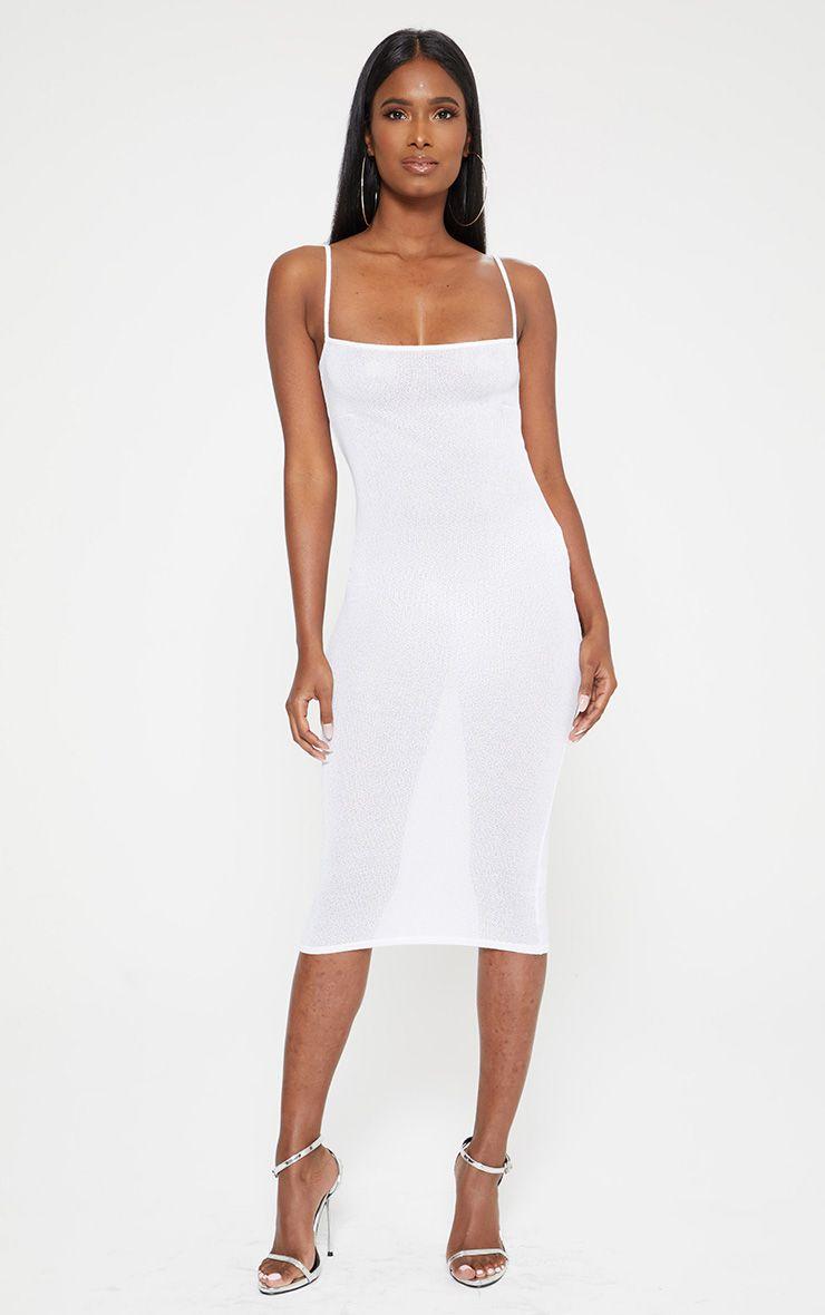 White Light Weight Knit Straight Neck Midi Dress