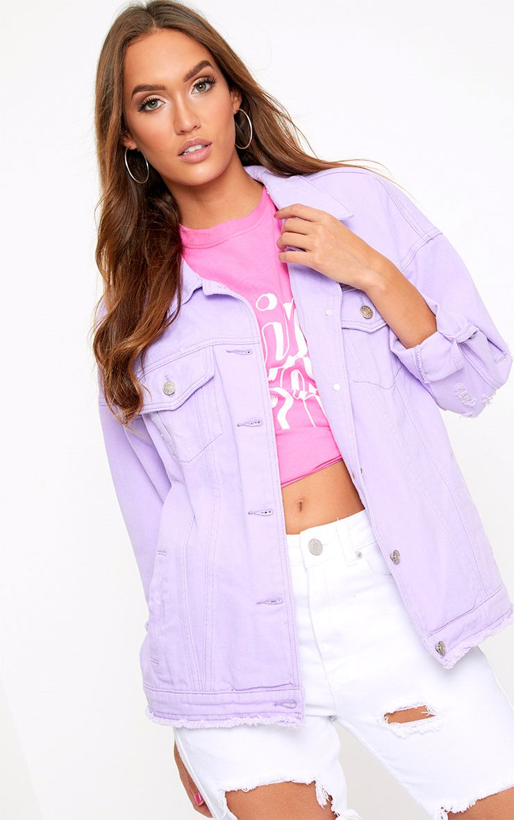 Lilac Oversized Fray Hem Denim Jacket
