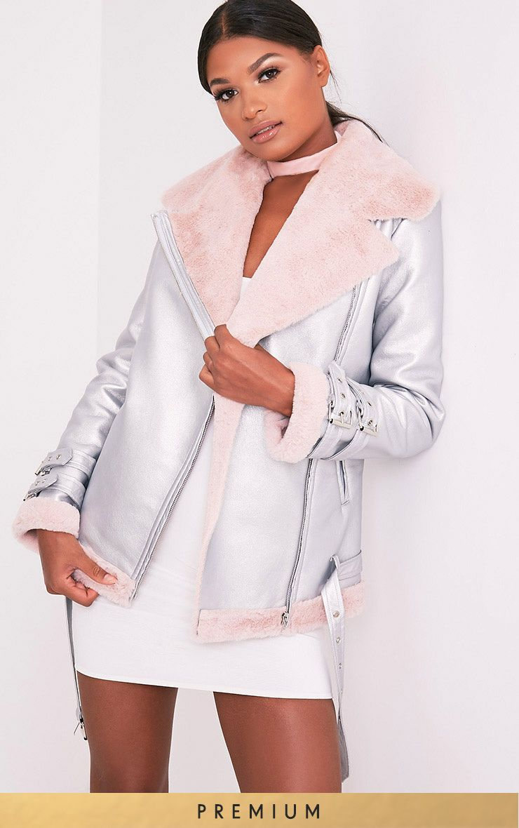 Liane Metallic Silver Premium Faux Fur Lined Aviator Jacket