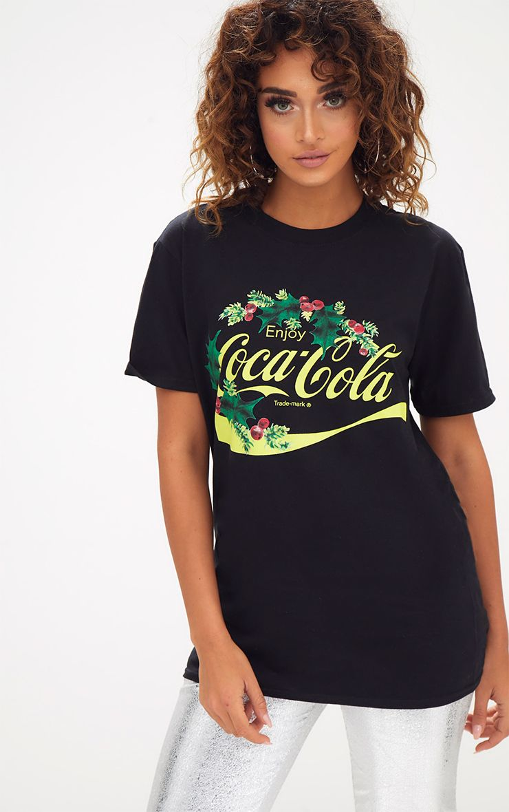 Black Coca Cola License Holly Christmas Slogan T Shirt