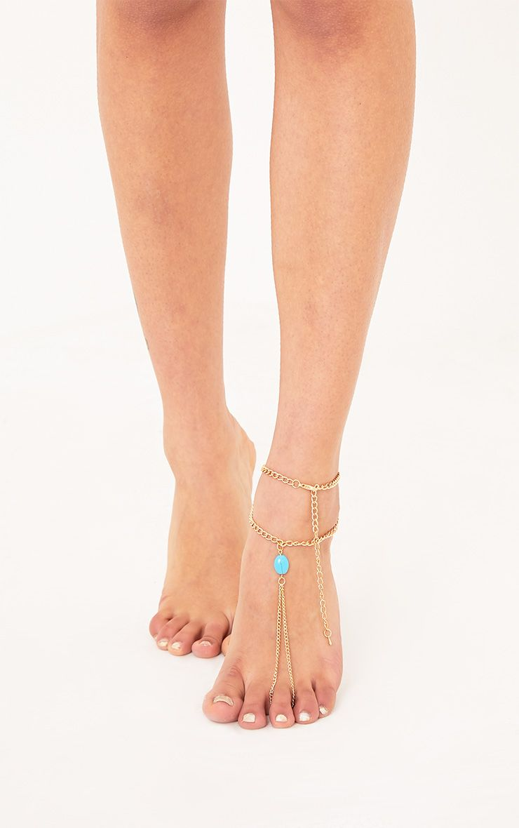 Lulla Gold & Turquoise Anklet