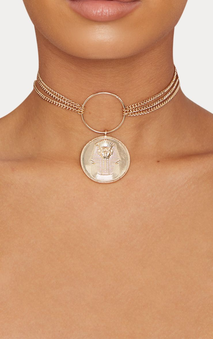 Gold Egyptian Ring Coin Necklace