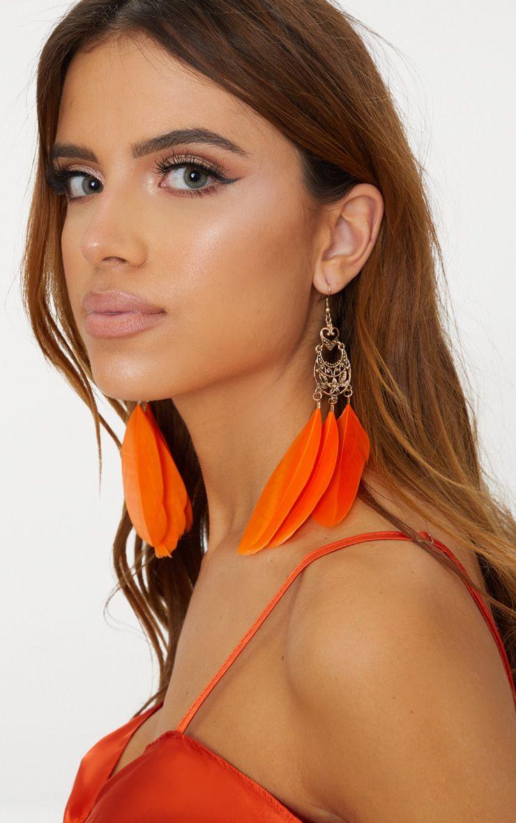 Orange Statement Feather Earrings