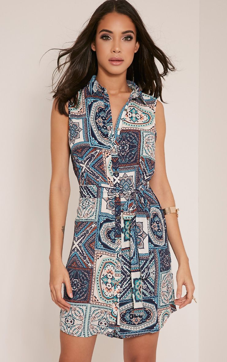 Aluna Blue Sleeveless Paisley Shirt Dress