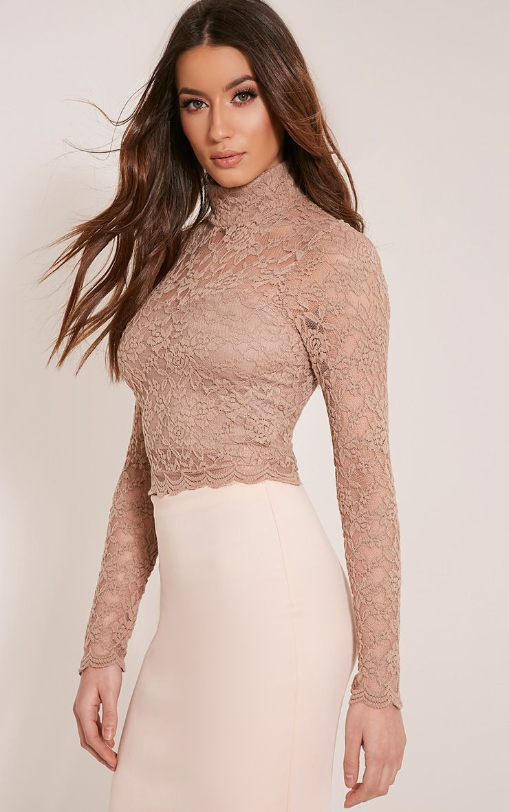 Elsa Taupe Lace Long Sleeved Crop Top 1