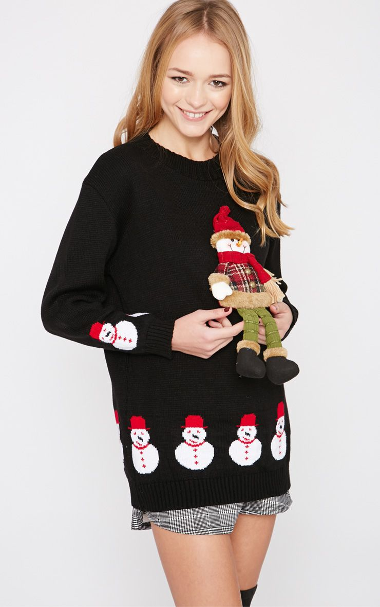 Kara Black 3D Snowman Toy Christmas Jumper  1