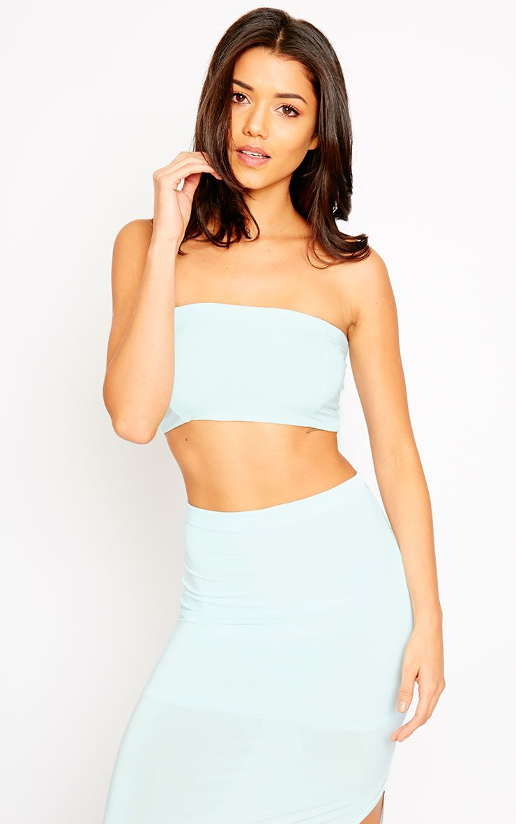 Helsa Mint Slinky Bandeau Crop Top 1