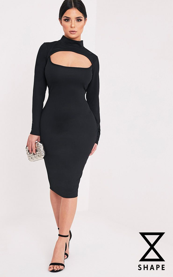Shape Kayleene Black Open Front Crepe Midi Dress