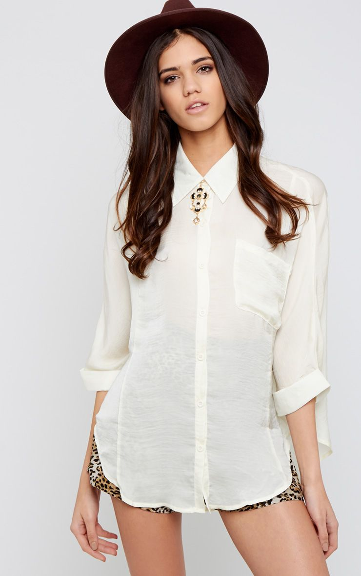 Melita Cream Dip Hem Batwing Sleeve Shirt 1