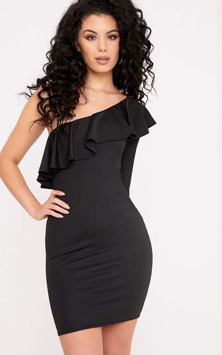 Pearl Black Ruffle Detail One Shoulder Bodycon Dress