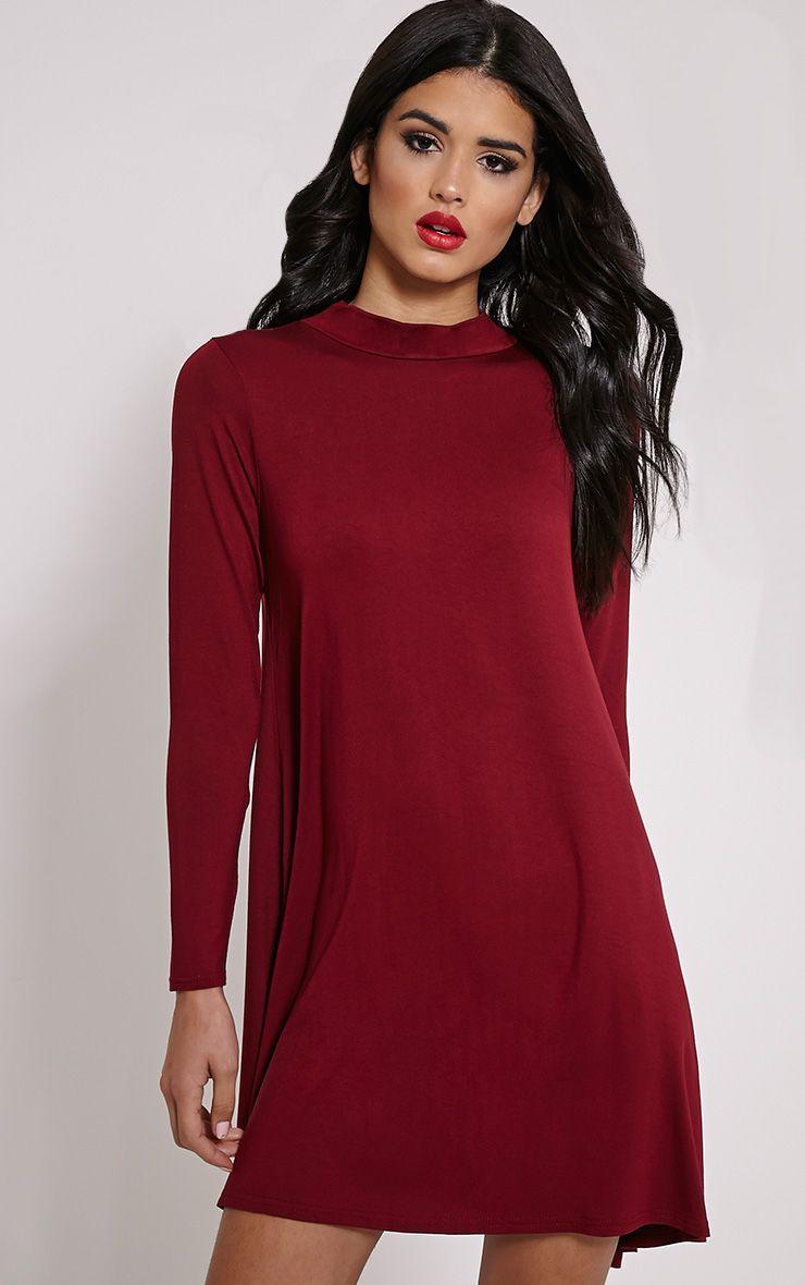 Basic Wine Long Sleeved Jersey Swing Dress 1