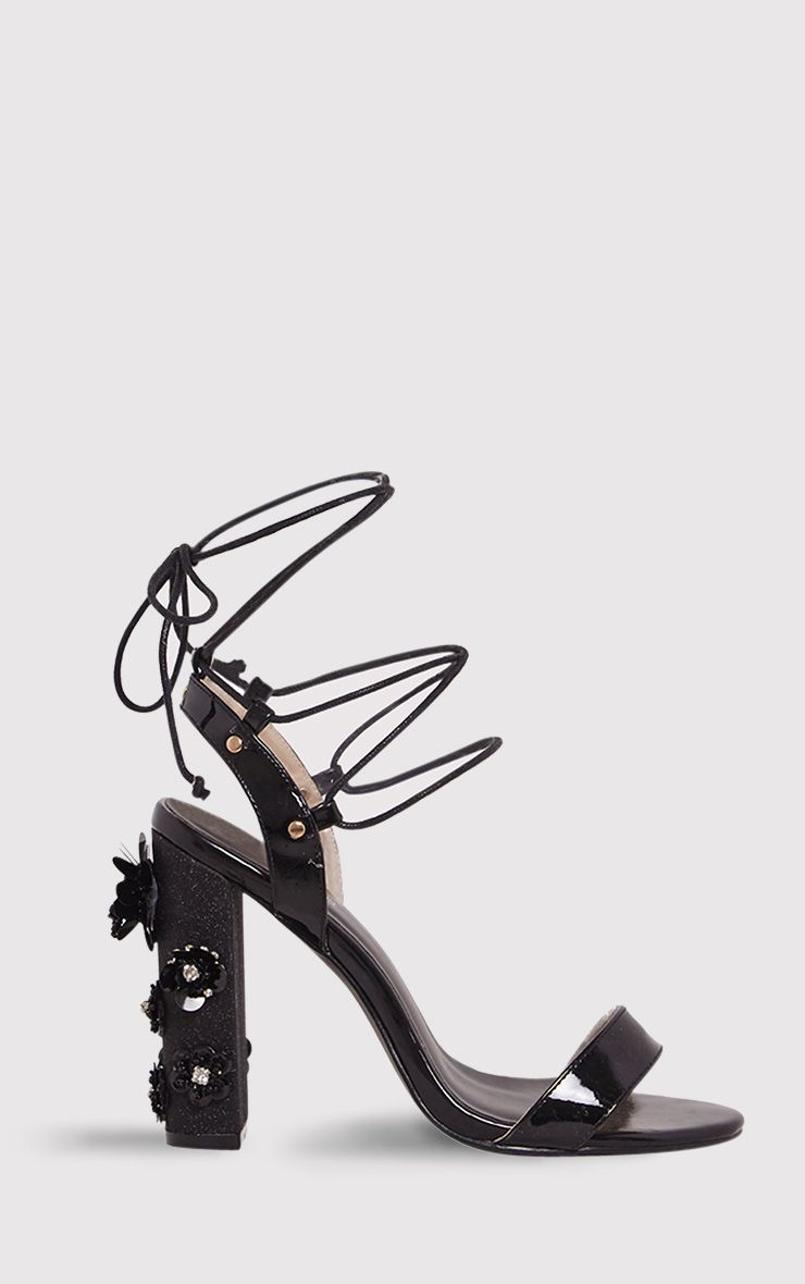 Evy Black Embellished Block Heeled Sandals