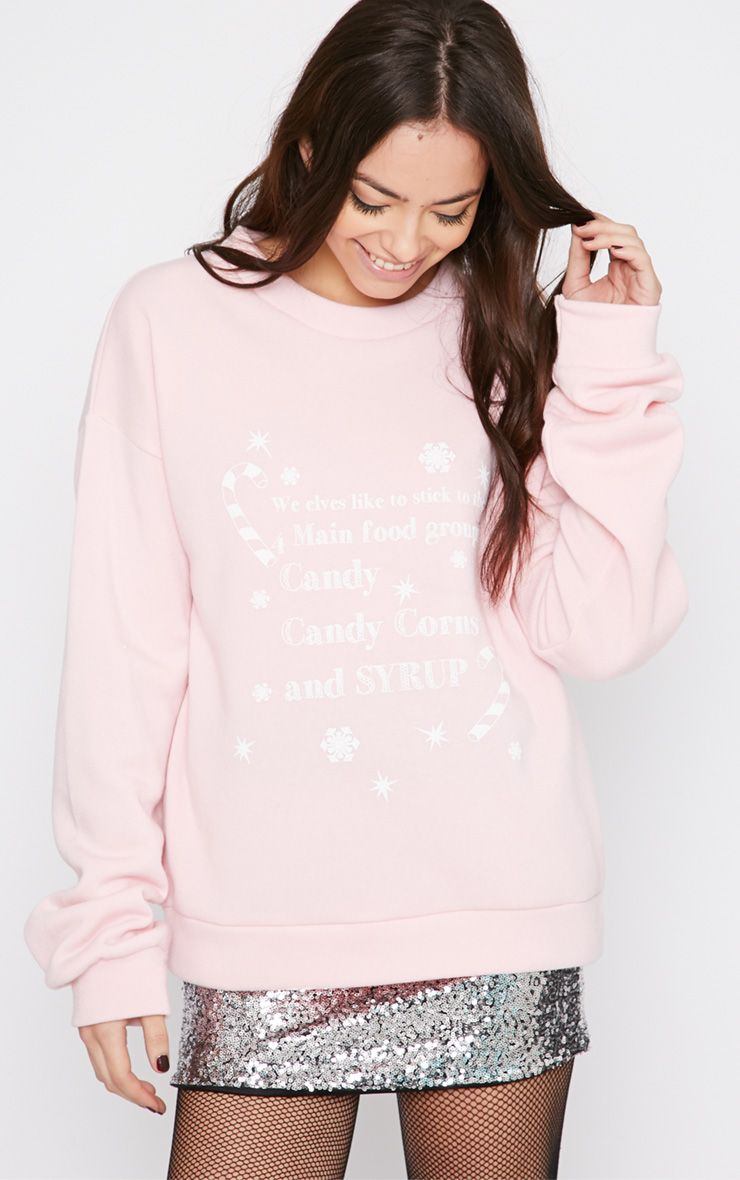 Mendia Baby Pink Candy Slogan Christmas Sweater 1