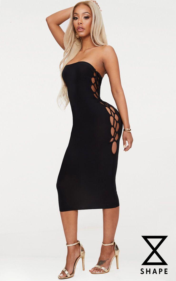 Shape Black Slinky Lace Up Detail Bandeau Midi Dress 1