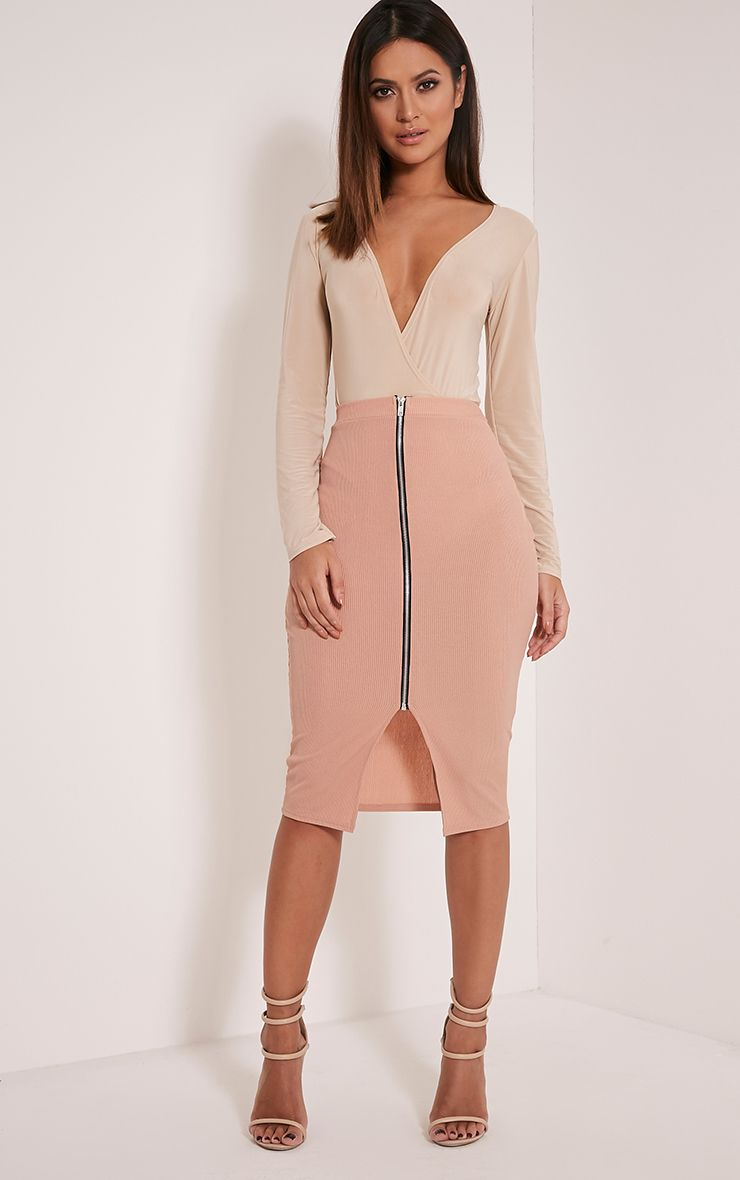 Sarie Blush Ribbed Zip Front Midi Skirt 1