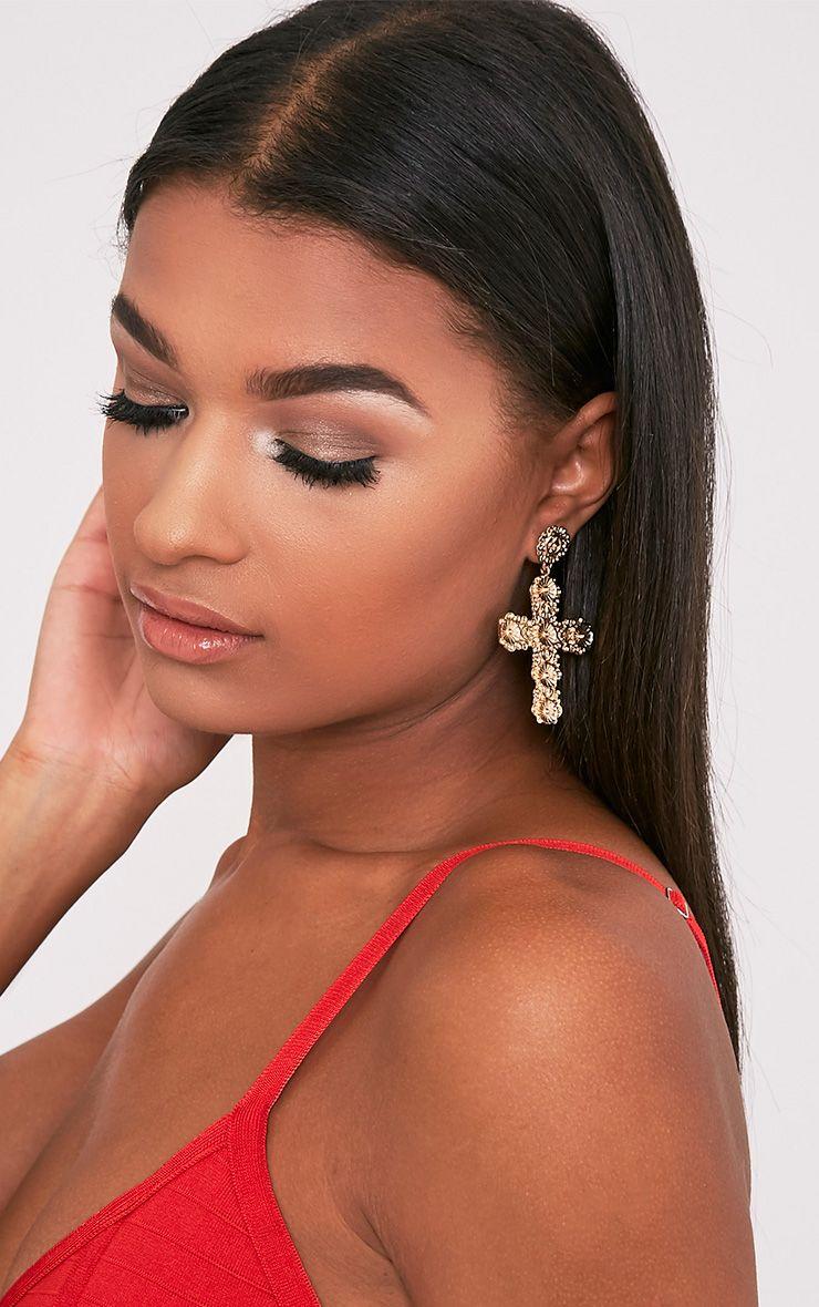 Korra Gold Ornate Cross Earrings
