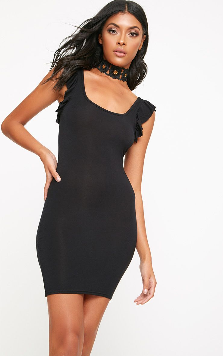 Black Frill Shoulder Bodycon Dress
