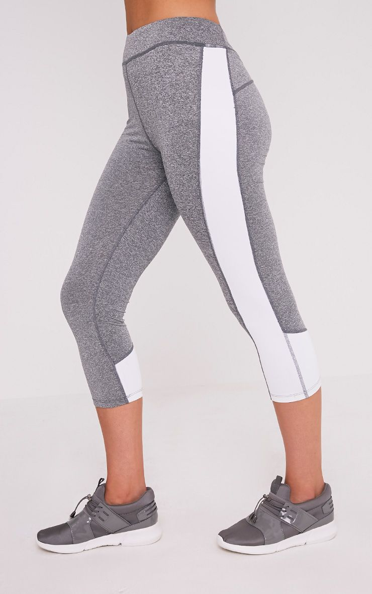 Fion White Panelled Cropped Gym Leggings 4