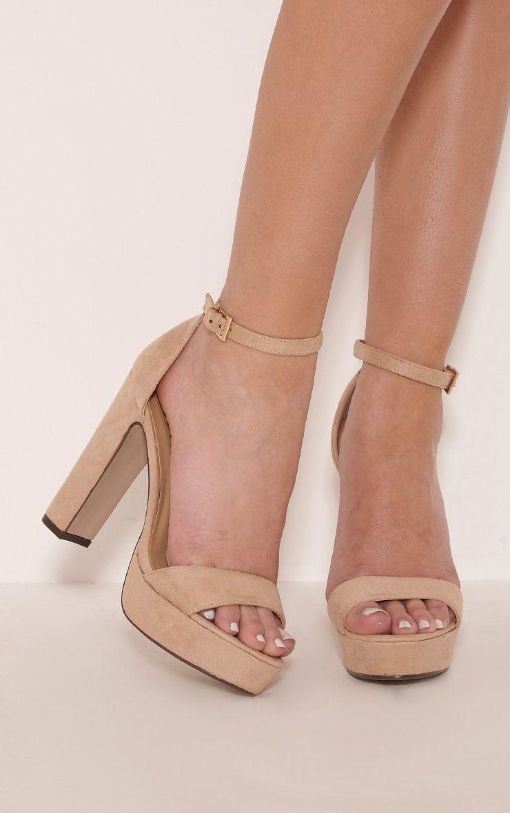 Taya Nude Faux Suede Platform Sandals 1