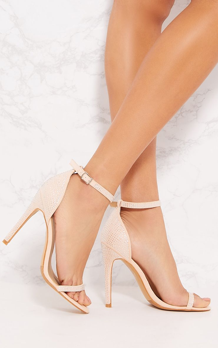 Nude Diamante Barely There Heel Sandal