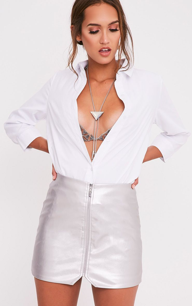 Suzy Silver Faux Leather Zip Front Mini Skirt