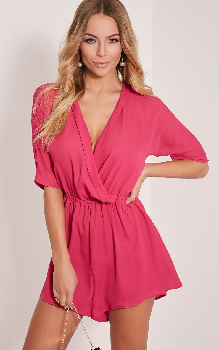 Bobby Hot Pink Wrap Front Playsuit 1