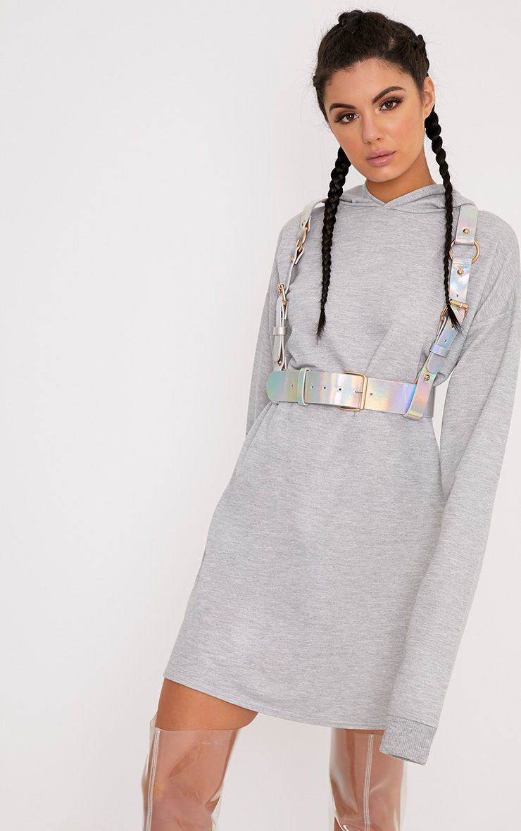 Elizabella Grey Extreme Long Sleeved Hoodie Sweater Dress