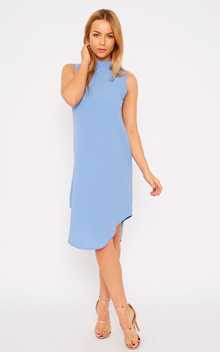 May Powder Blue Crepe High Neck Dip Hem Shift Dress 1