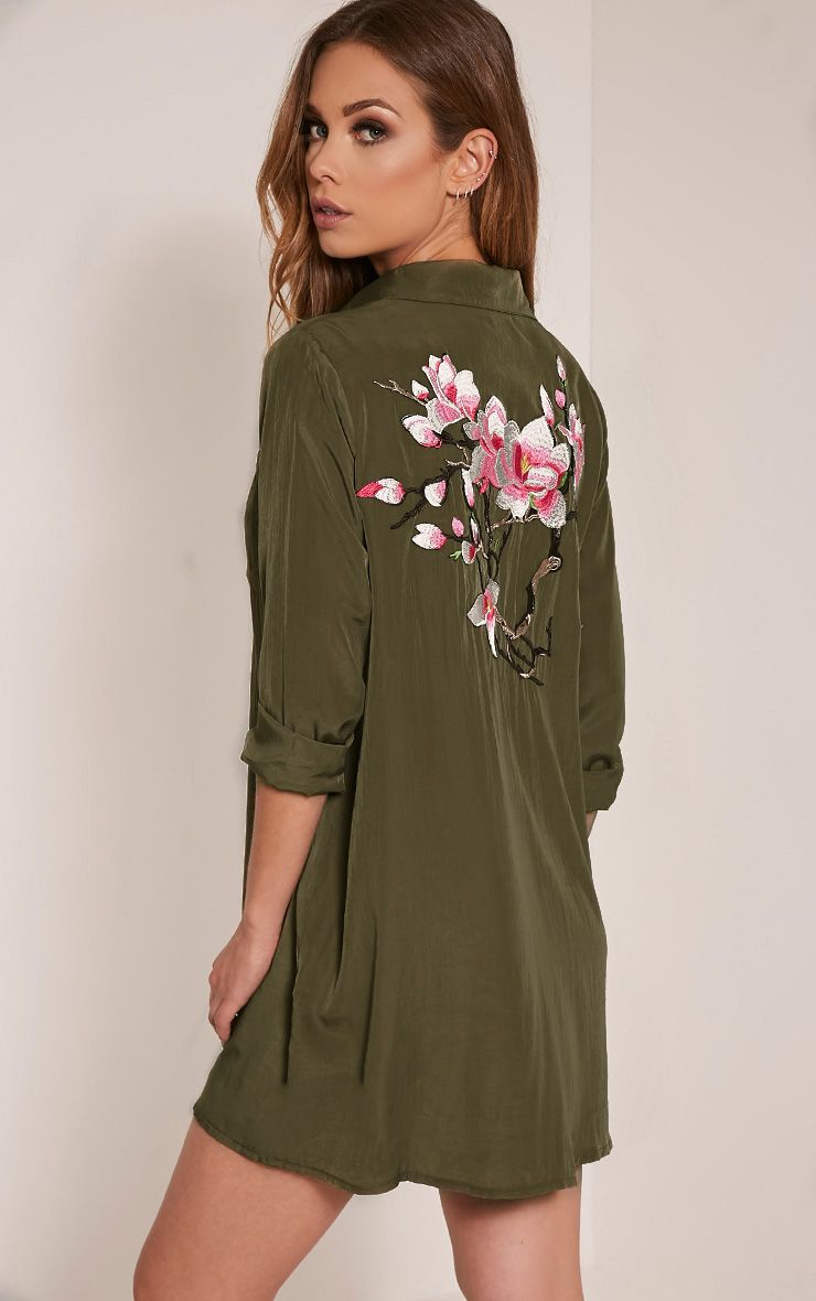 Reeana Khaki Floral Applique Silk Feel Shirt Dress Green