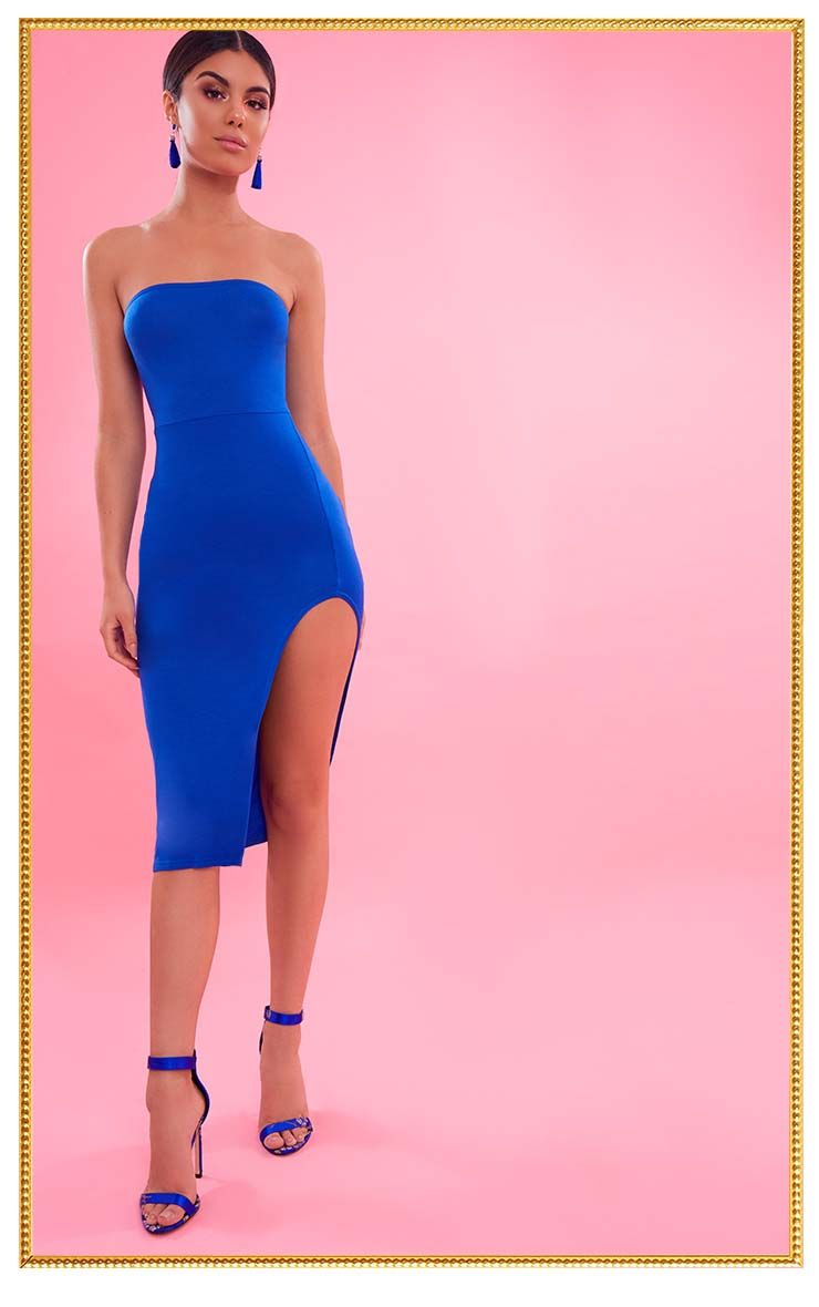 Cobalt Bandeau Split Front Midi Dress