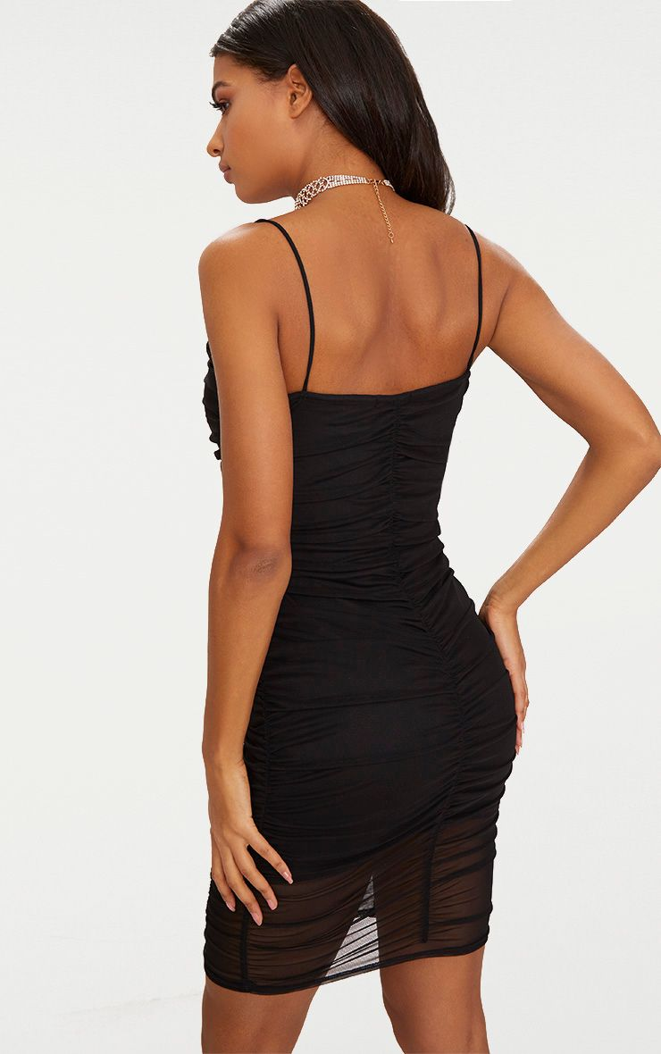 Black Mesh Ruched Panel Detail Bodycon Dress Pretty Little Thing IclHzUcr