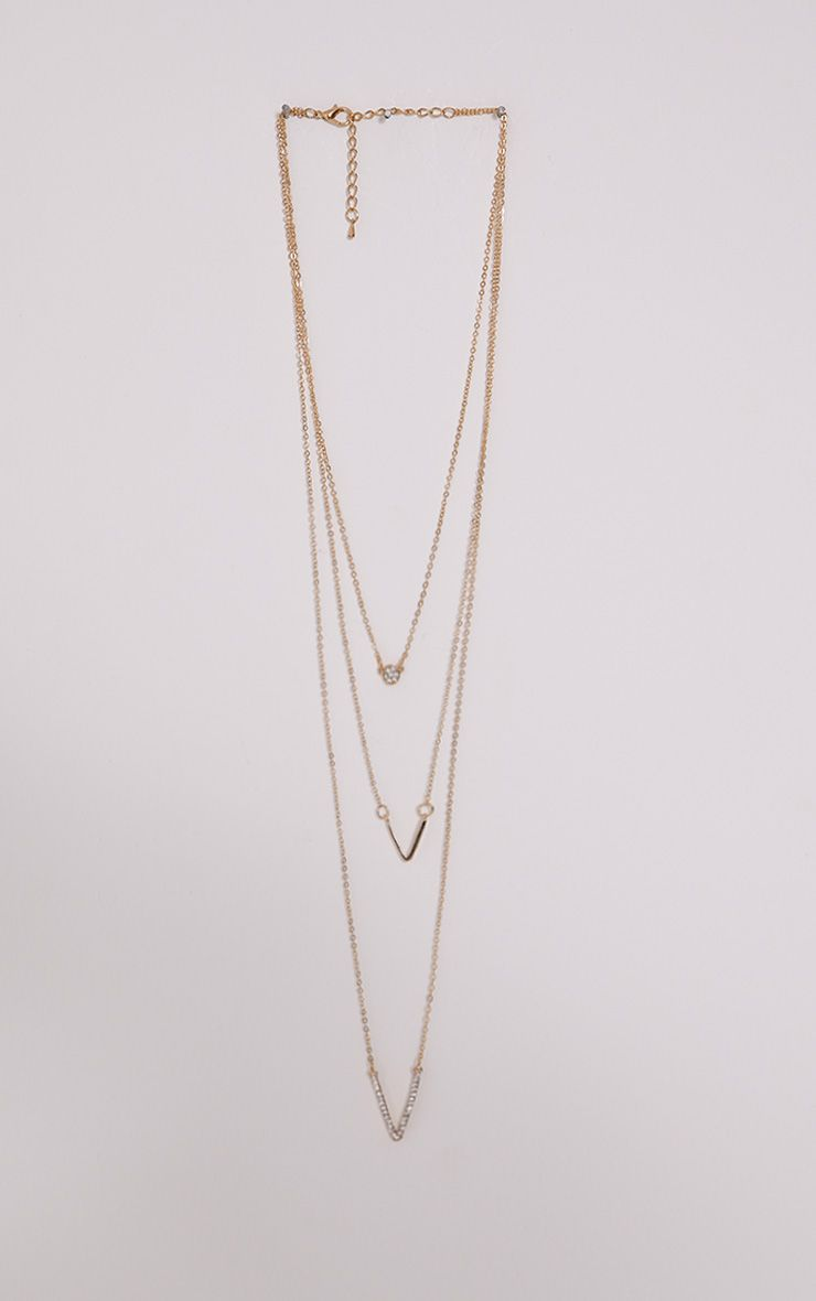 Shan Gold Chevron Layered Necklace