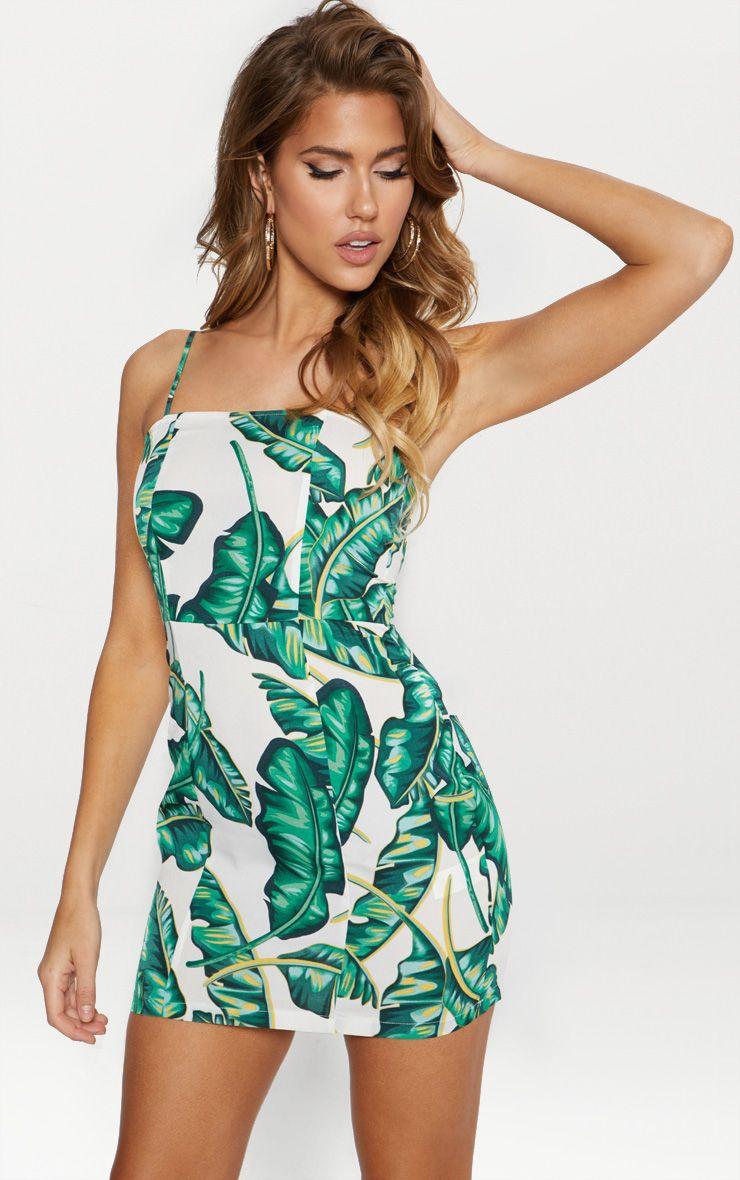 Green Palm Print Lace Trim Strappy Slip Dress