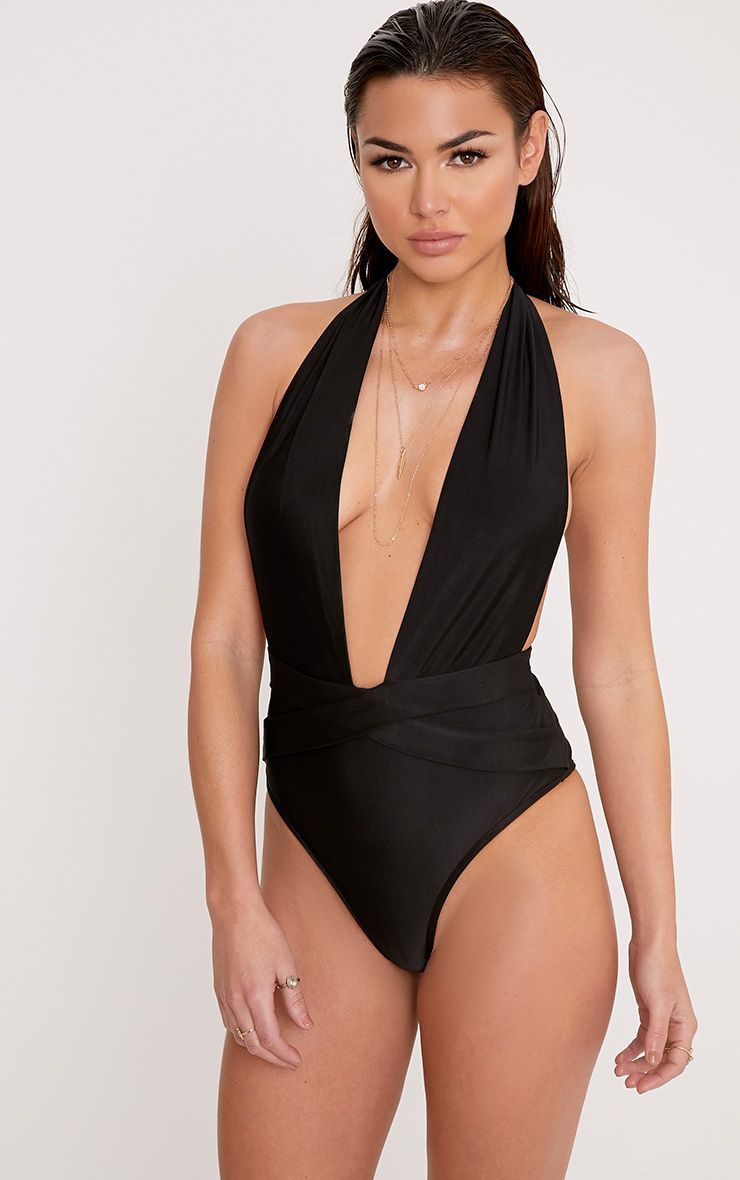 Bethanne Black Wrap Around Front Swimsuit