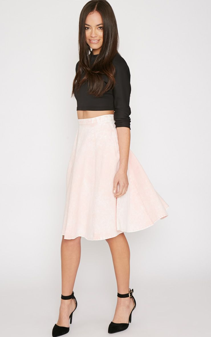 Paige Pink Denim A Line Skirt 1