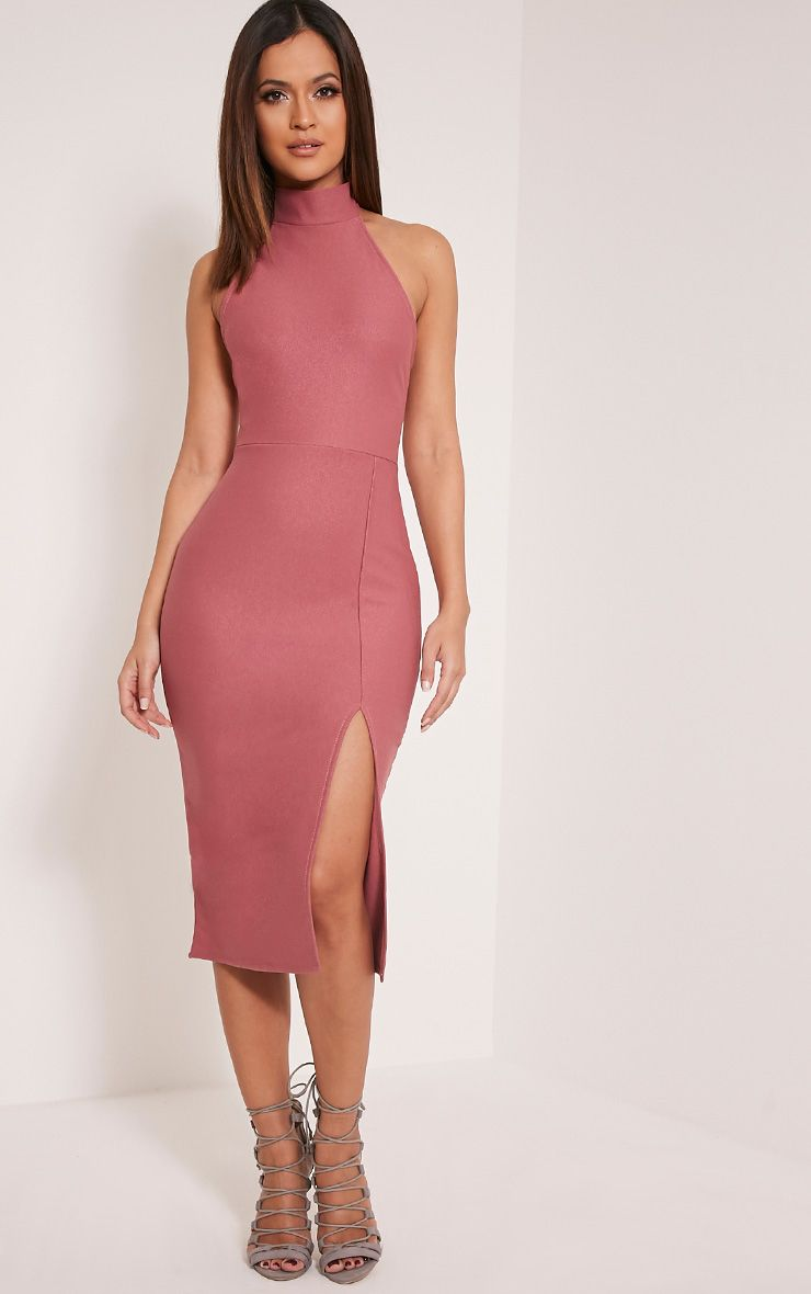 Trina Rose High Neck Split Front Midi Dress 1