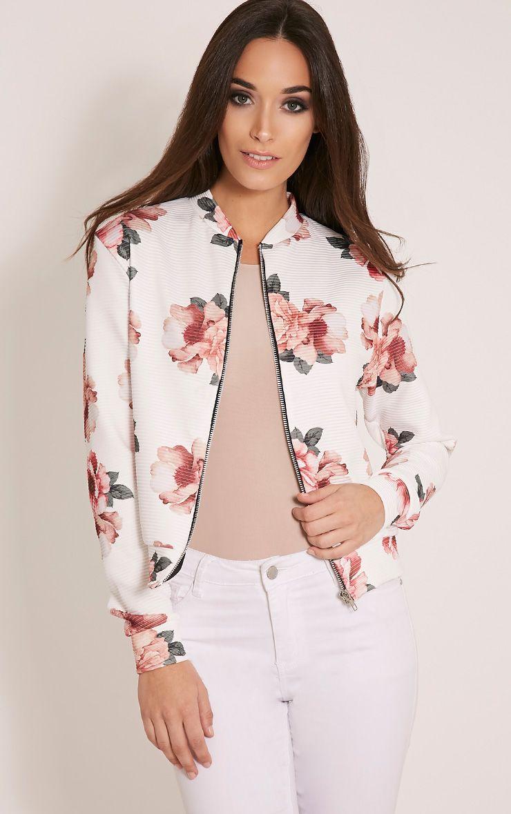 Emmah White Floral Ribbed Bomber Jacket