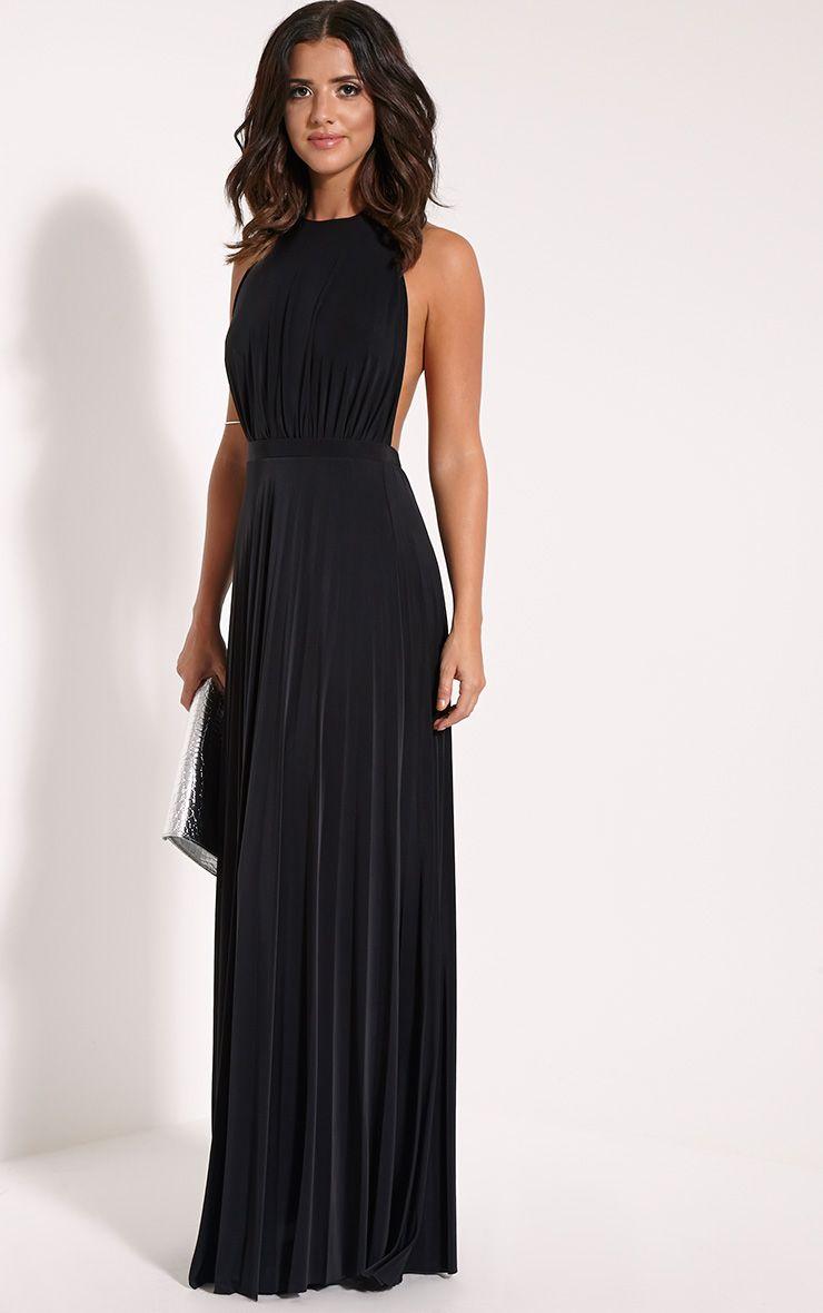 Lorelei Black Halterneck Pleated Maxi Dress 1