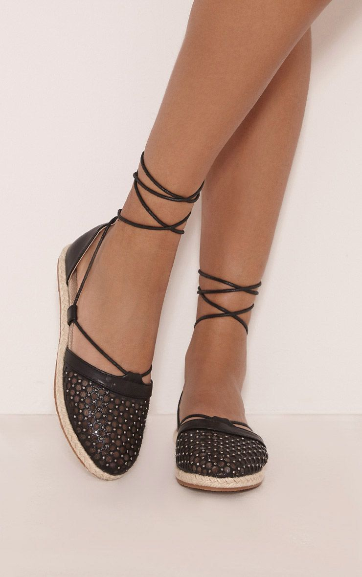 Margo Black Metallic Espadrille Sandals 1