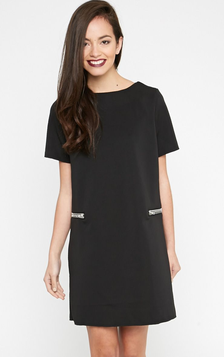 Taya Black Zip Shift Dress 1