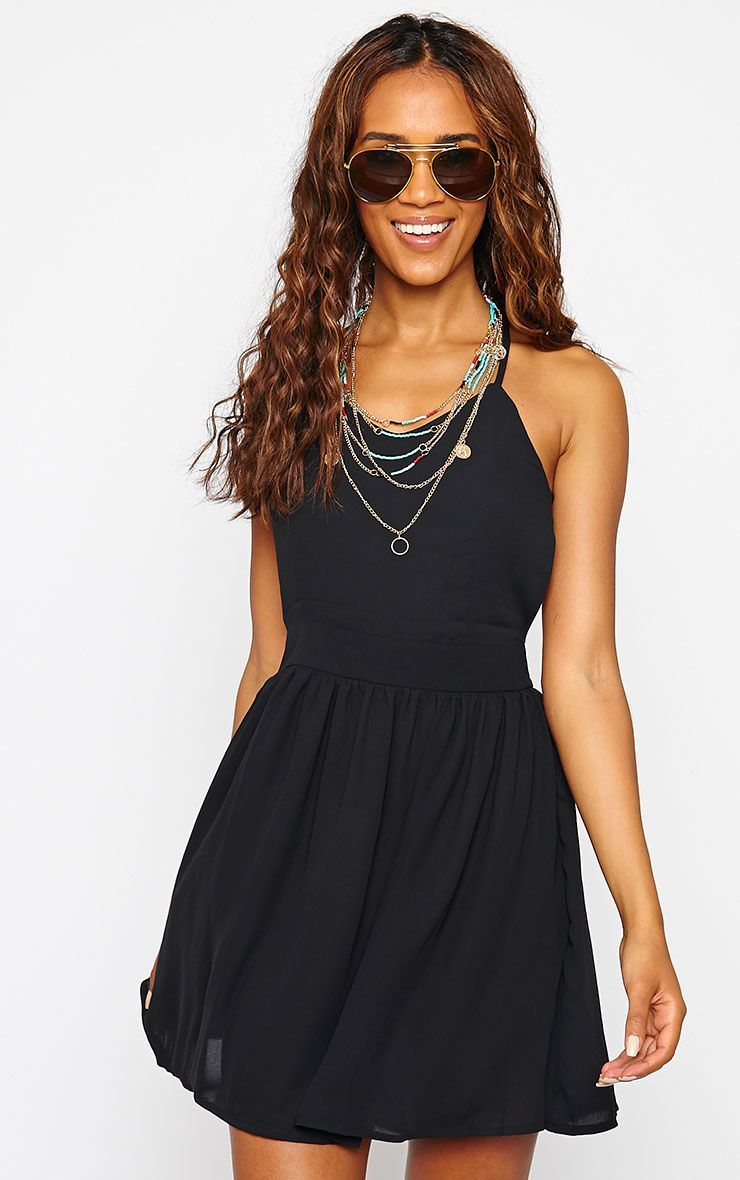 Tillie Black Cross Back Skater Dress 1