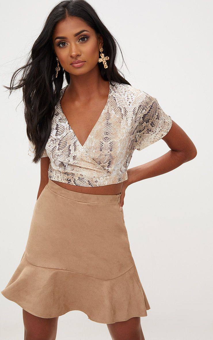 Taupe Faux Suede Flippy Hem Mini Skirt