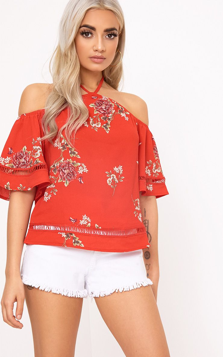 Maybelle Red Floral Print Bardot Top