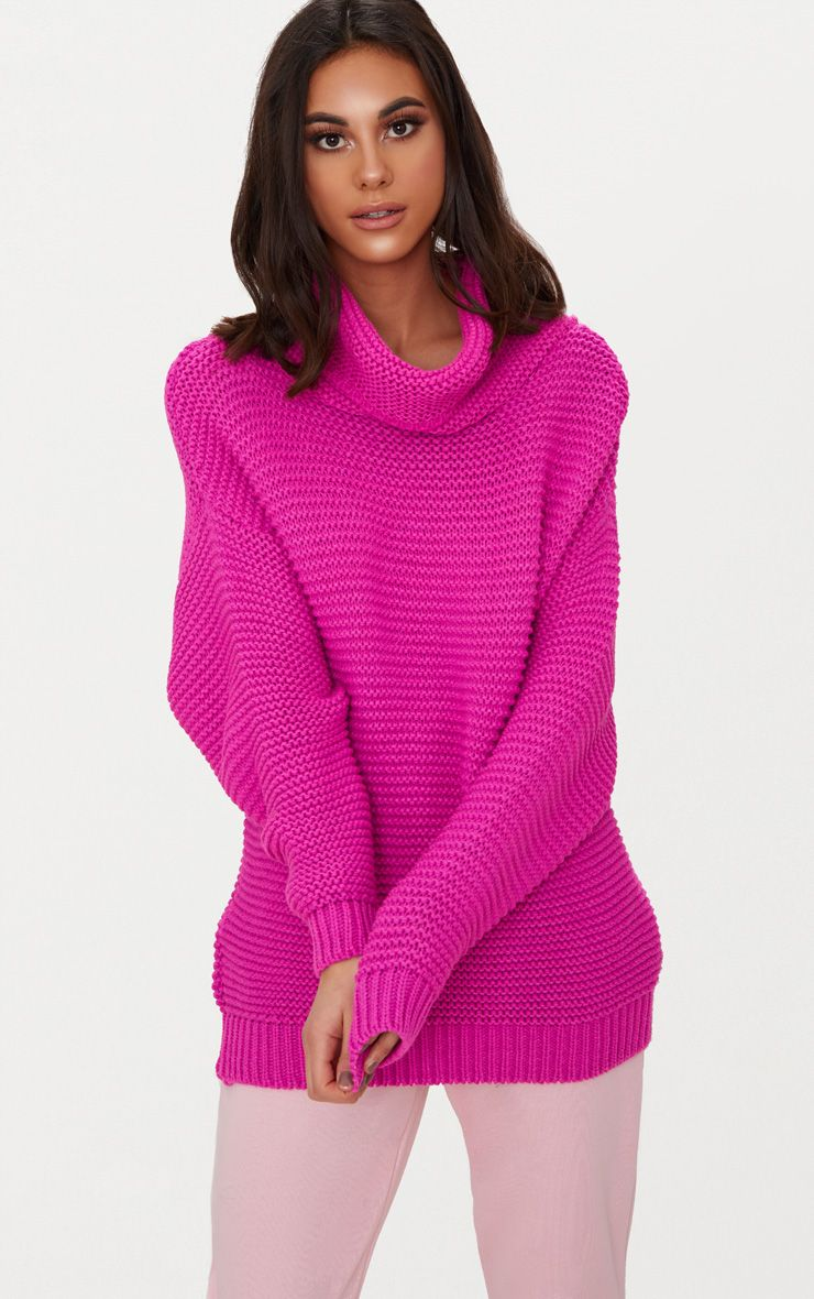 Fuchsia Oversized Roll Neck Jumper