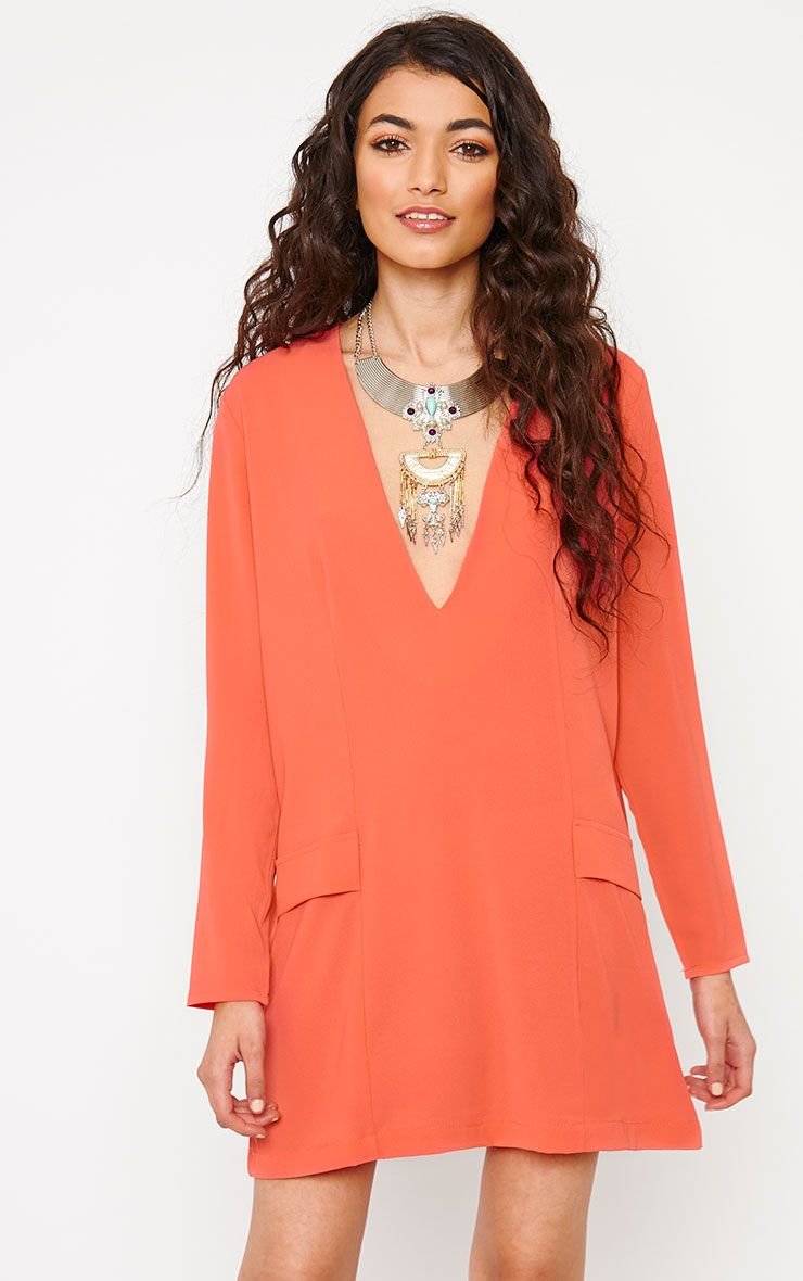 Jemima Coral Loose Fit Blazer Dress 1