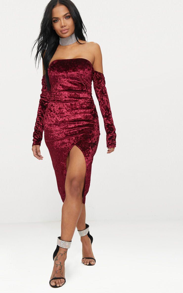 Burgundy Velvet Bardot Long Sleeve Wrap Detail Midi Dress |  PrettyLittleThing