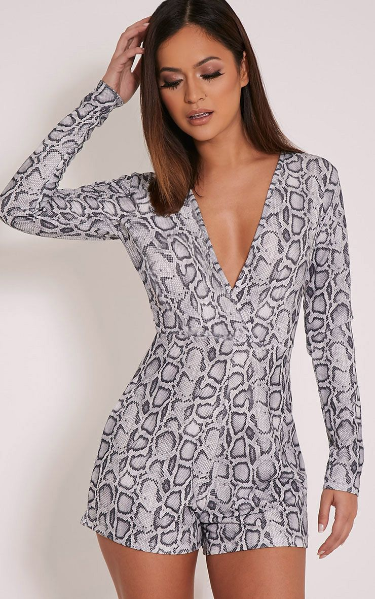 Anne Grey Snake Print Plunge Playsuit 1