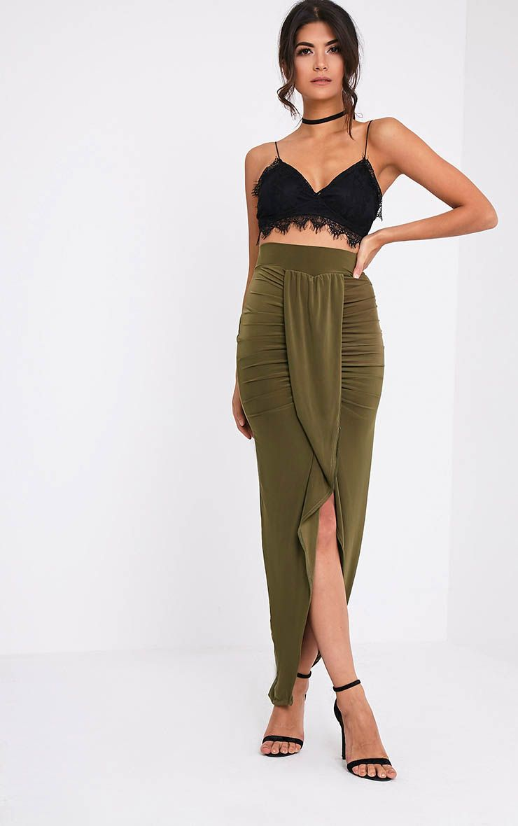 Lucia Khaki Slinky Drape Ruched Maxi Skirt
