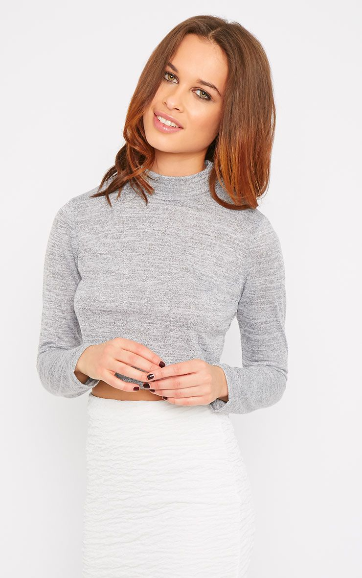 May Grey Marl Knitted Turtle Neck Crop Top  1