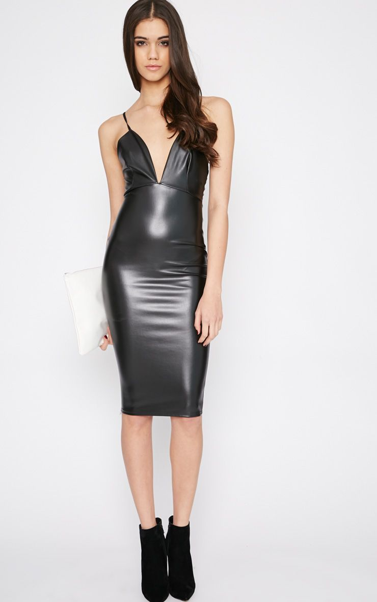 Addison Black Leather Plunge Midi Dress 1